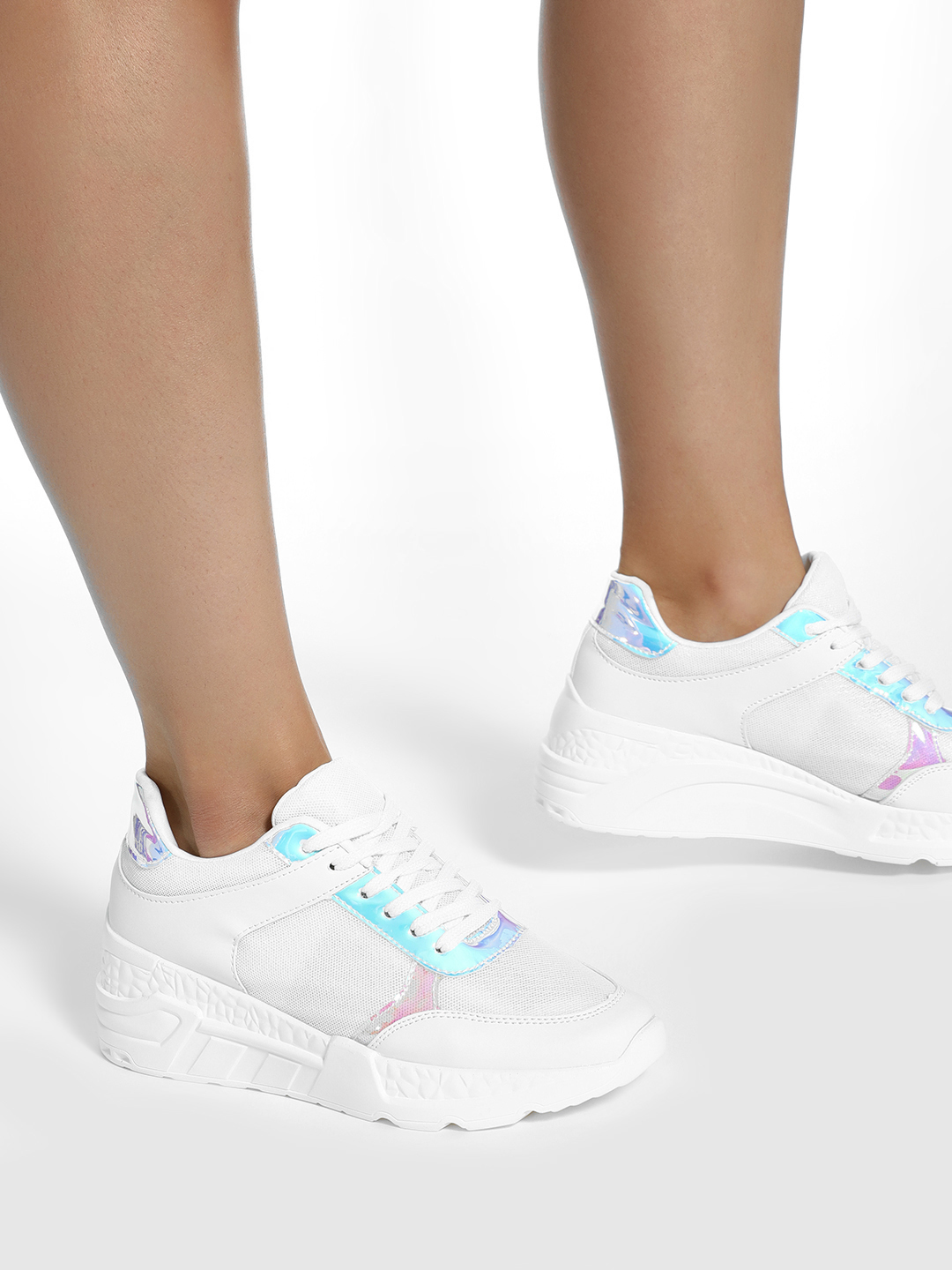 KOOVS White Holographic Panel Chunky Sole Trainers 1