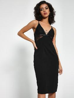 Ax Paris Lace Plunge V-Neck Midi Dress