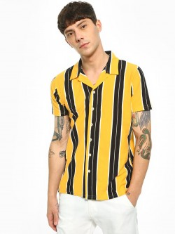 Garcon Vertical Stripe Knitted Cuban Collar Shirt