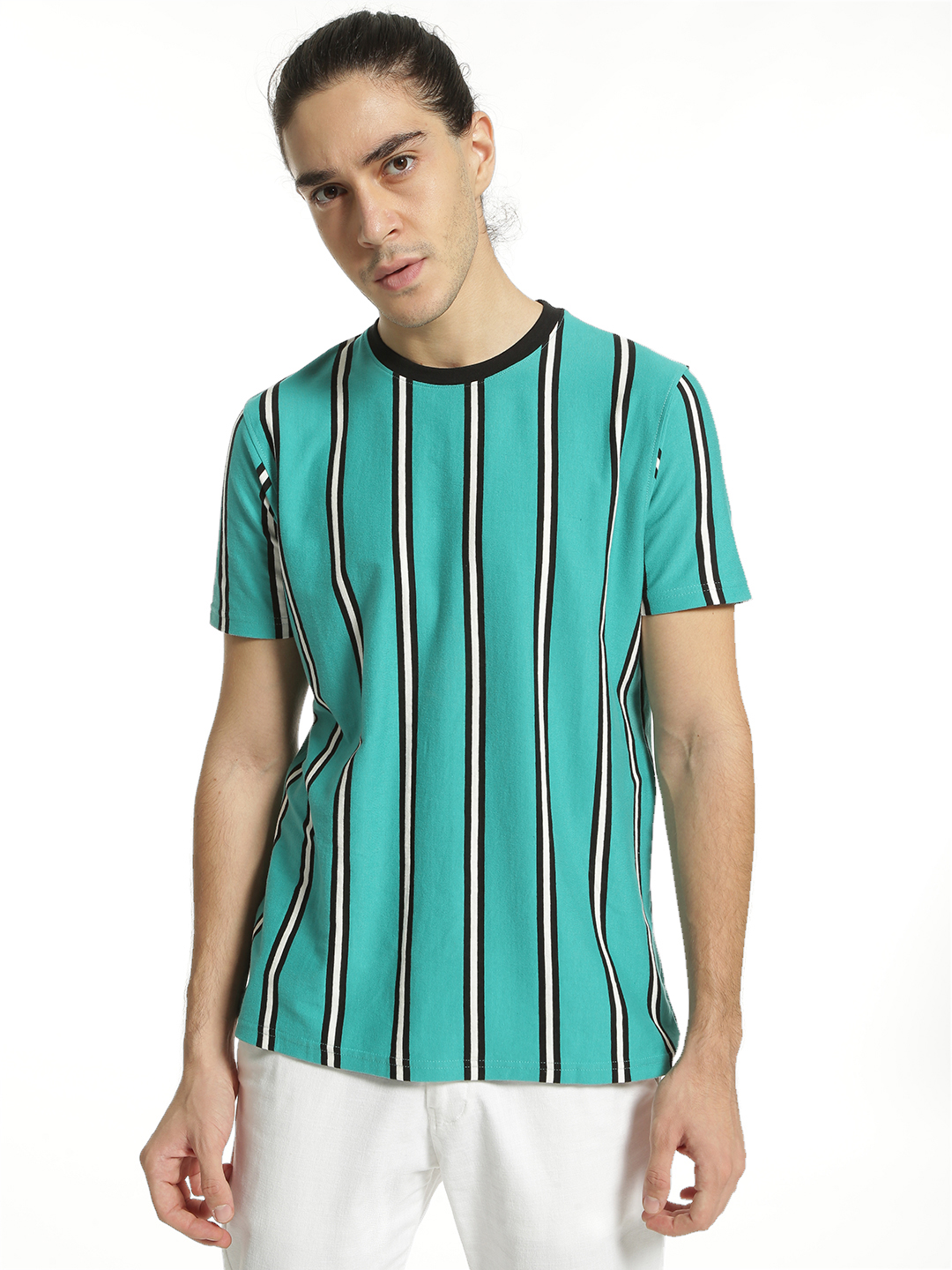 Garcon Blue Yarn Dyed Vertical Stripe T-Shirt 1