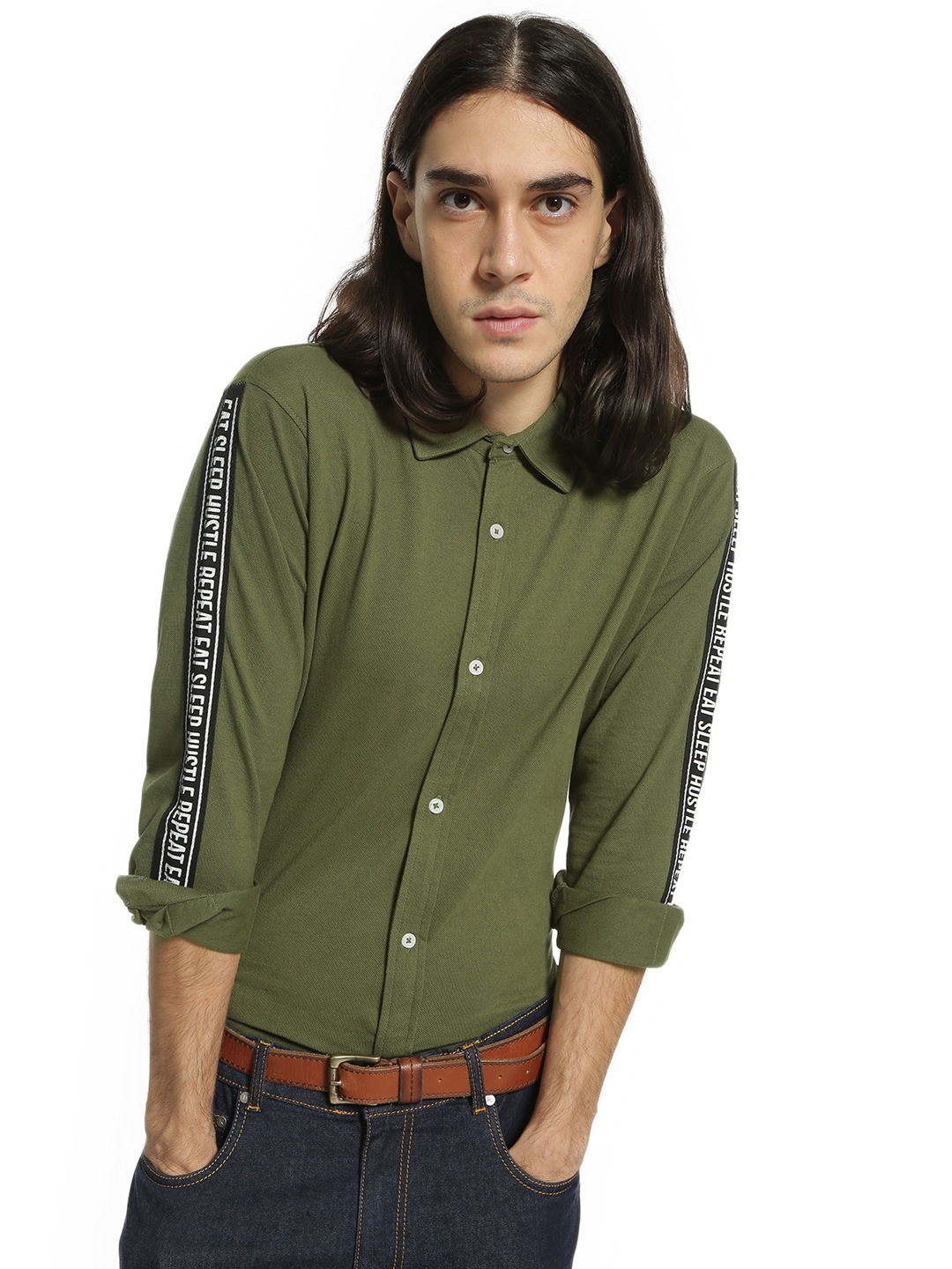 Garcon Green Pique Slogan Print Side Tape Shirt 1