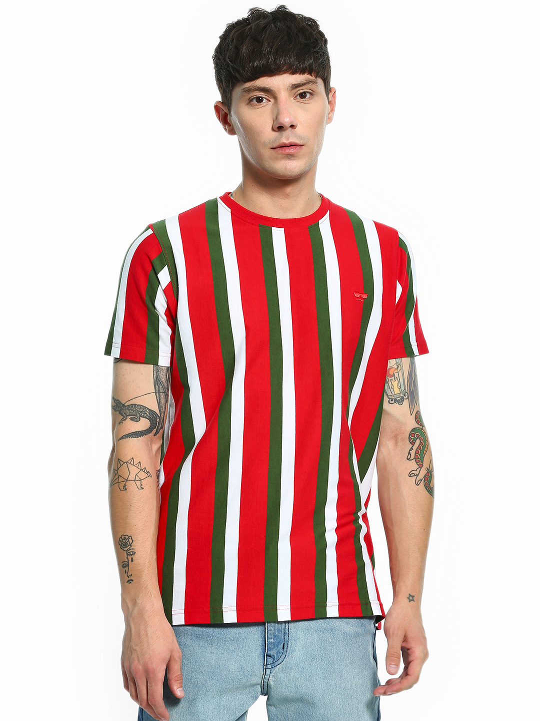 Garcon Red Yarn Dyed Vertical Stripe T-Shirt 1