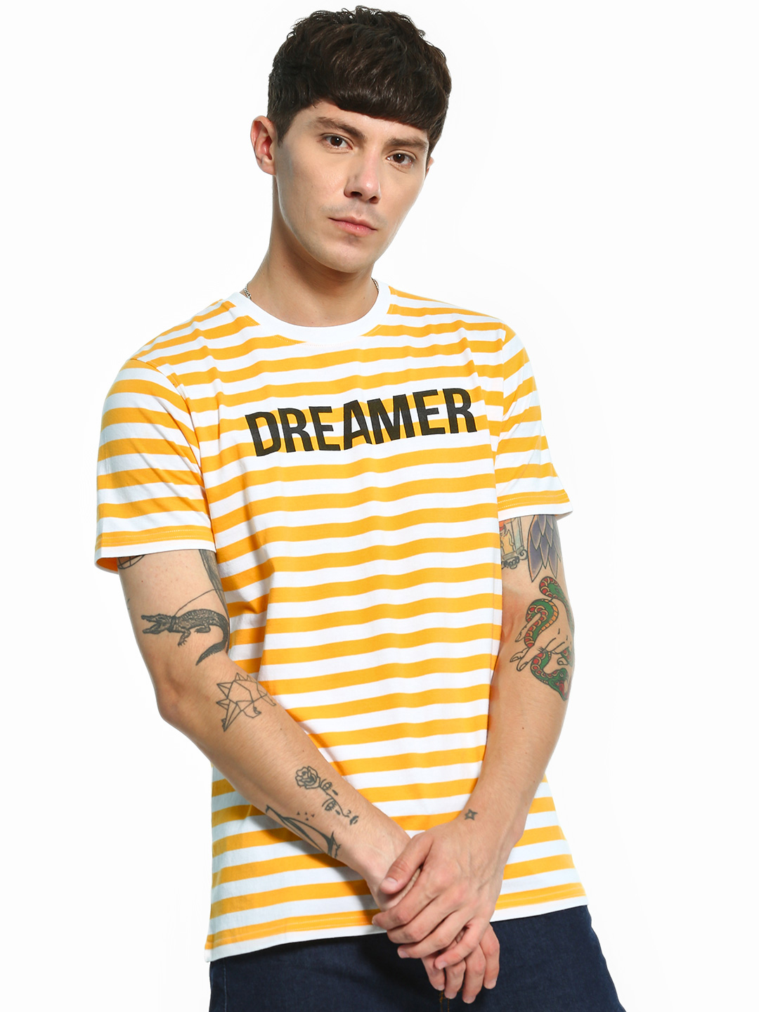 Garcon Yellow Yarn-Dyed Horizontal Stripe Text T-Shirt 1