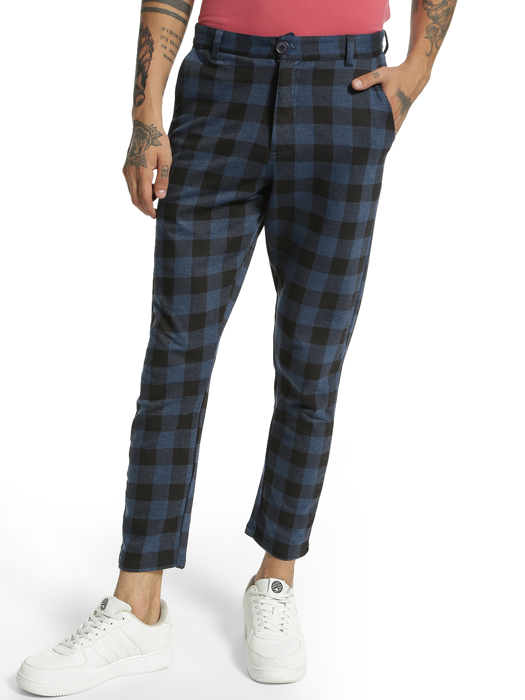 Garcon Blue Multi-Check Knitted Cropped Trousers 1