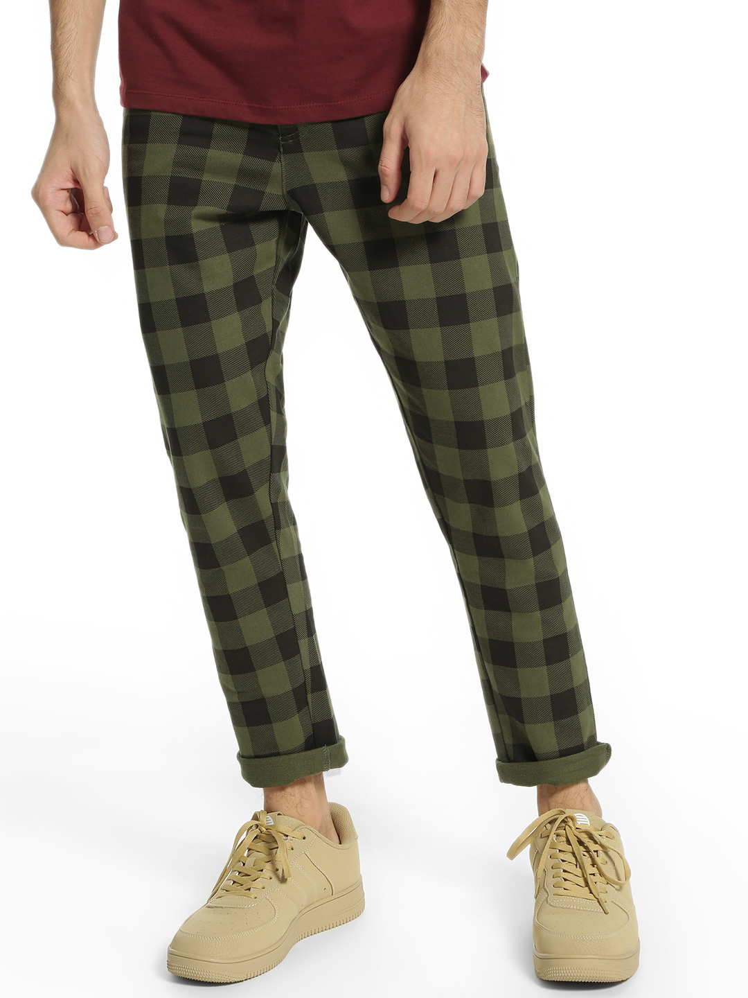 Garcon Green Multi-Check Knitted Cropped Trousers 1