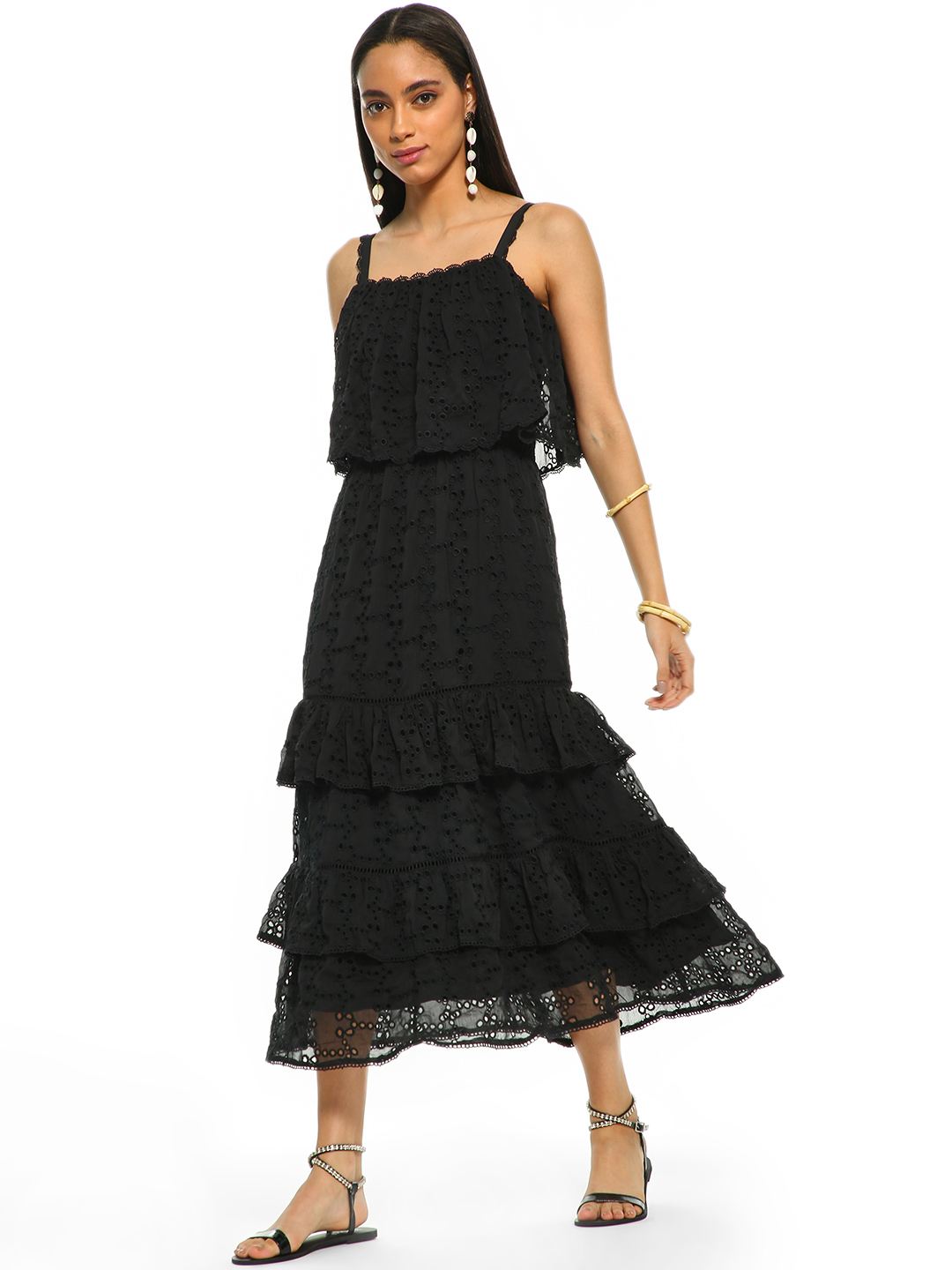 Cover Story Black Broderie Ruffle Tier Midi Dress 1