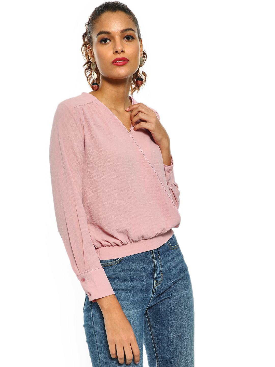 Cover Story Pink Overlap V-Neck Wrap Blouse 1