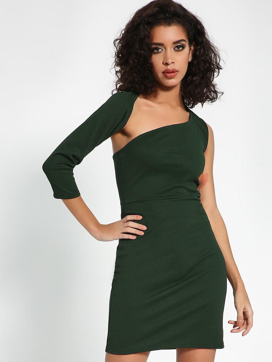 KOOVS Bottle Green Cut-Out One Shoulder Bodycon Dress 1