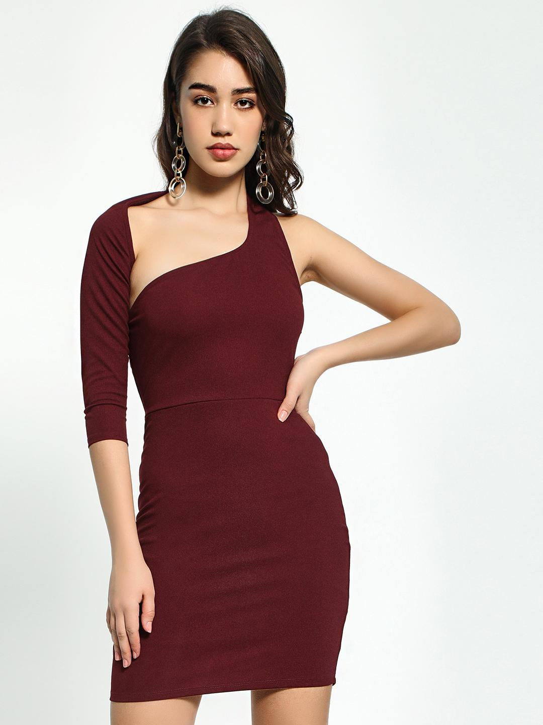KOOVS Wine Red One Shoulder Bodycon Dress 1