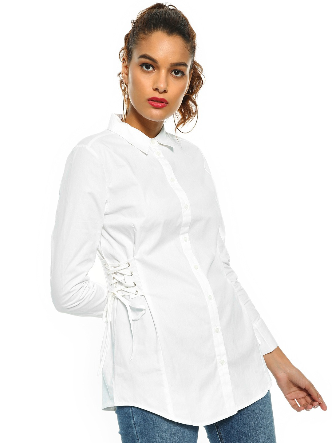 Cover Story White Side Tie Up Shirt 1