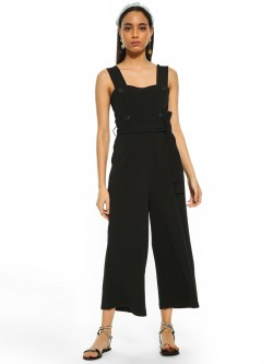 Cover Story Button Front Cropped Jumpsuit