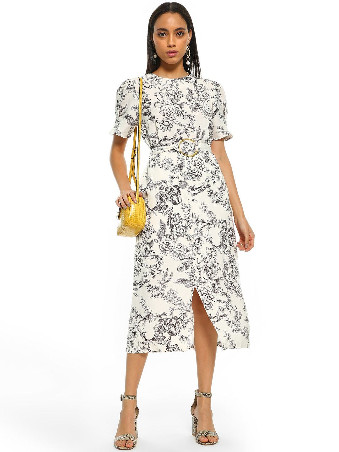 Cover Story Multi Ink Floral Print Midi Dress 1