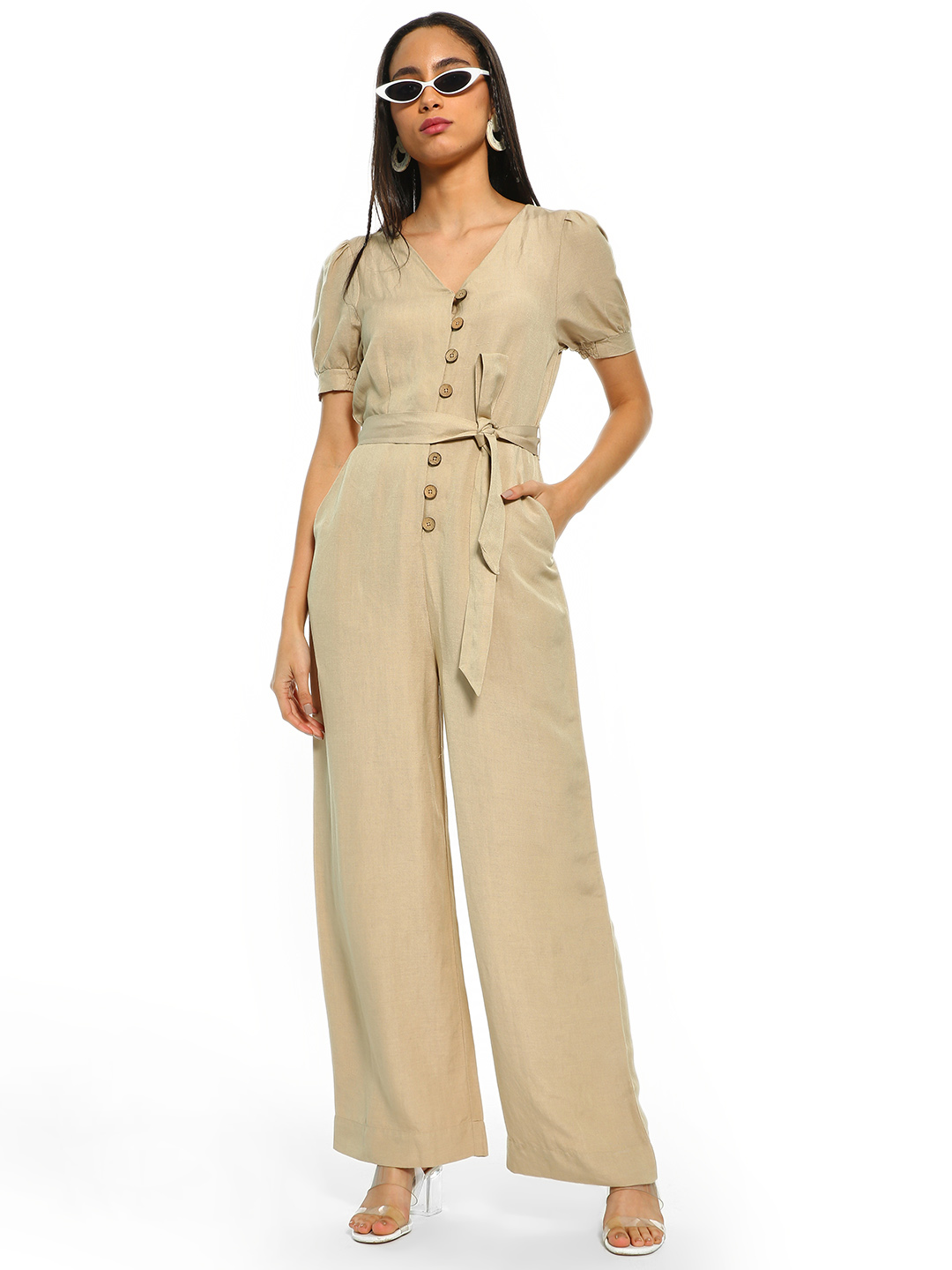 Cover Story Beige Button-Front Puff Sleeve Belted Jumpsuit 1