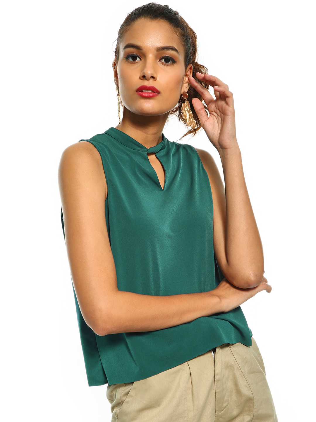 Cover Story Green Cut-Out Neck Sleeveless Blouse 1