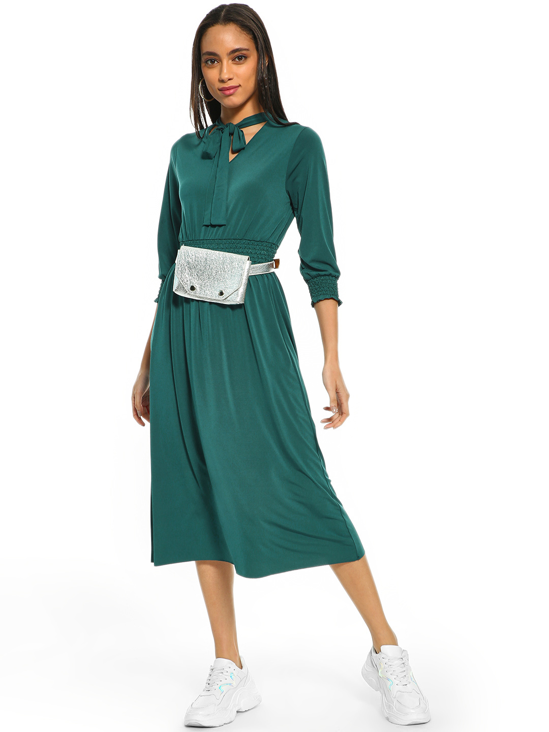 Cover Story Green Pussy Bow Neck Midi Dress 1