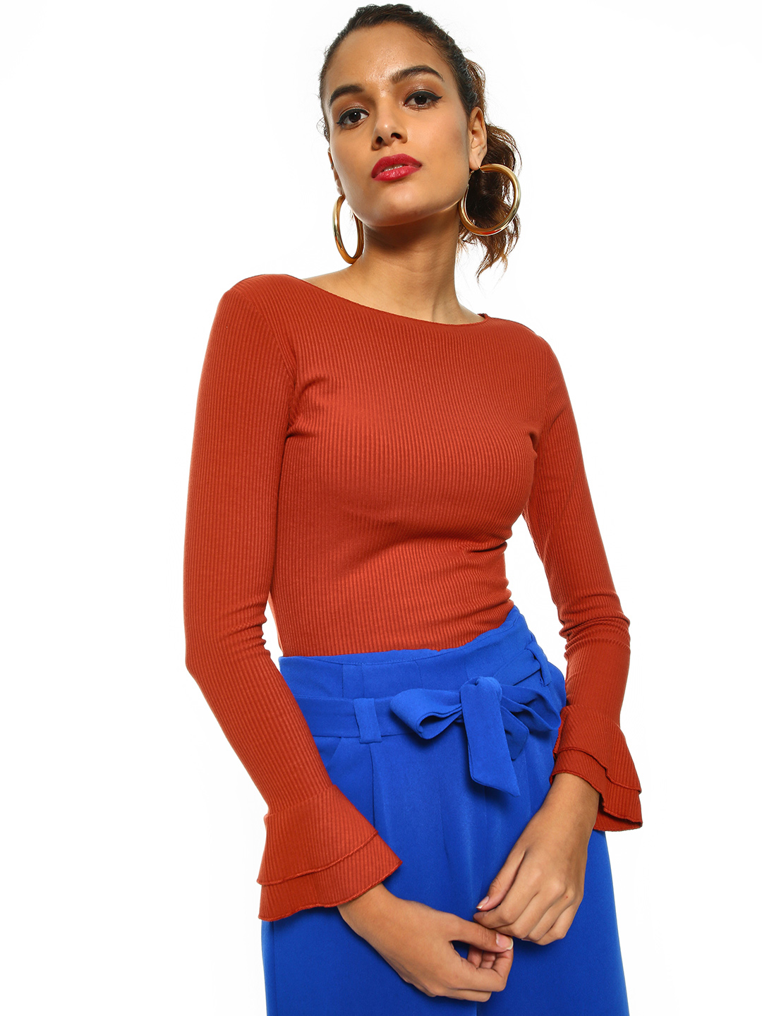 Cover Story Rust Ribbed Flared Sleeve Top 1