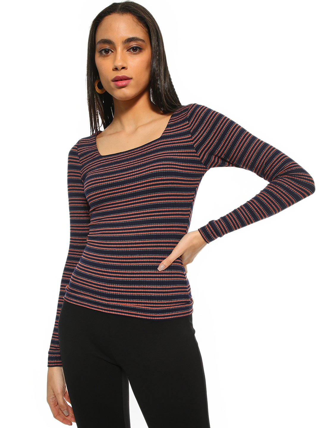 Cover Story Multi Horizontal Stripe Ribbed Top 1