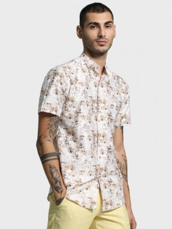 Mr Button Patterned Leaf Print Shirt