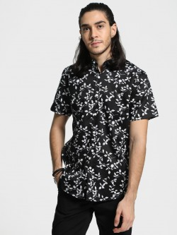 Mr Button Leaves Print Cuban Collar Shirt