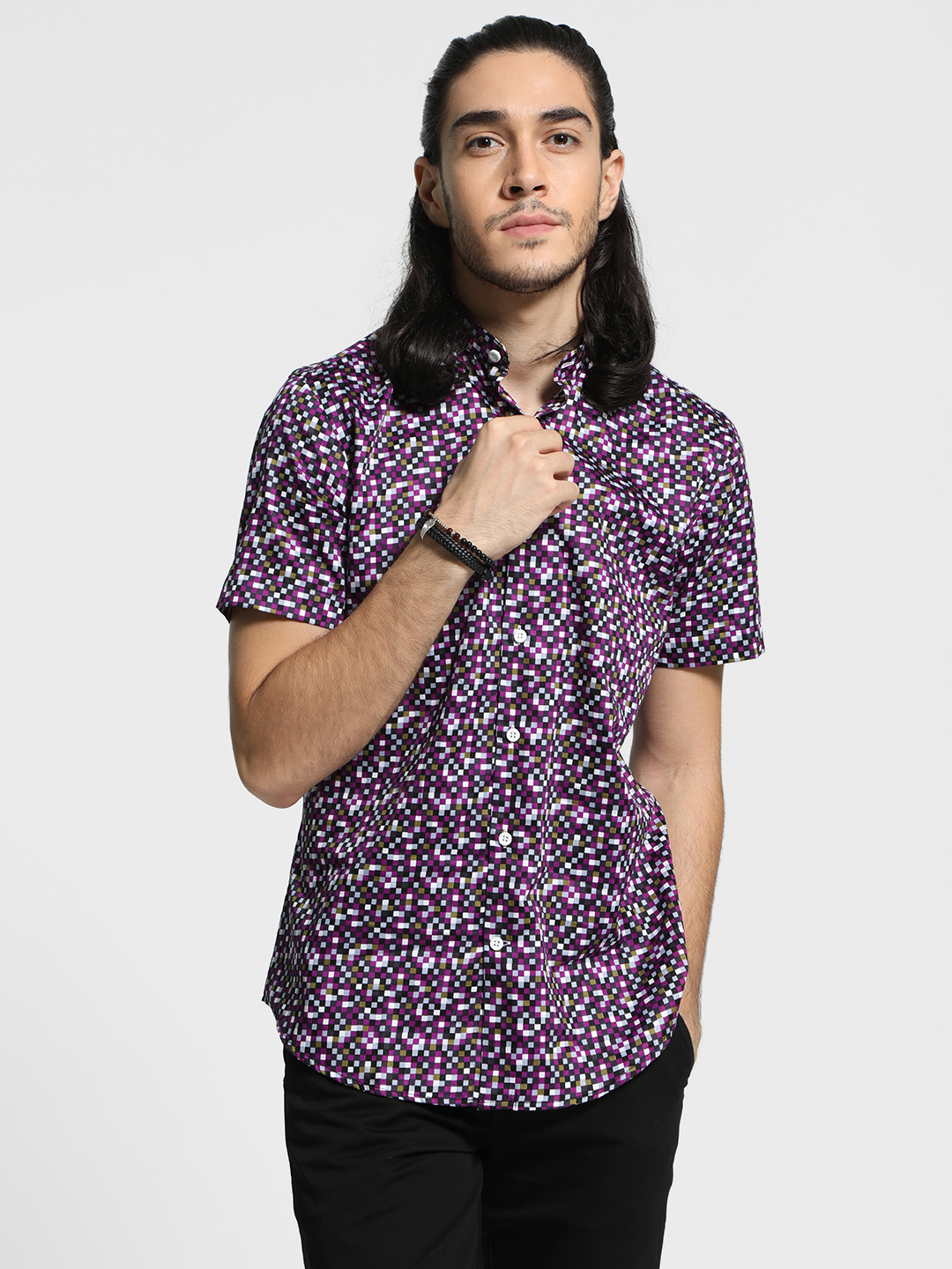 Mr Button Multi Mosaic Print Band Collar Shirt 1