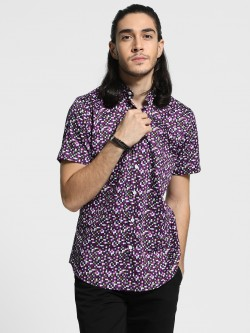 Mr Button Mosaic Print Band Collar Shirt