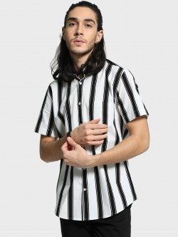 Mr Button Vertical Stripe Short Sleeve Shirt