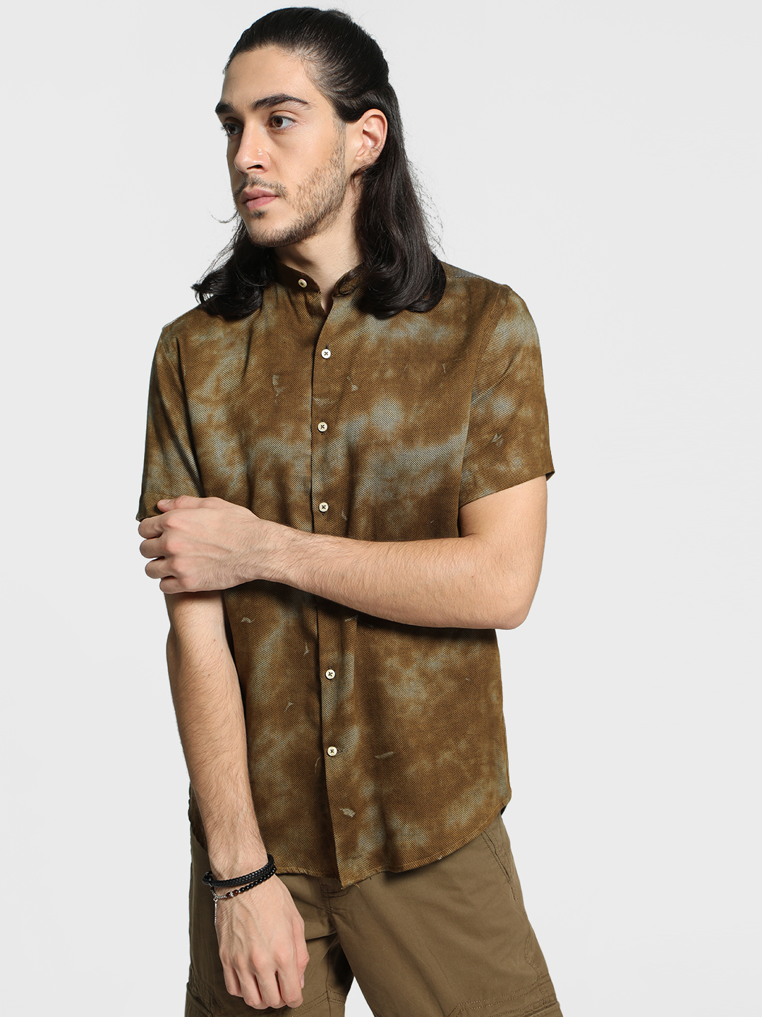 Mr Button Brown Pigment Wash Band Collar Shirt 1