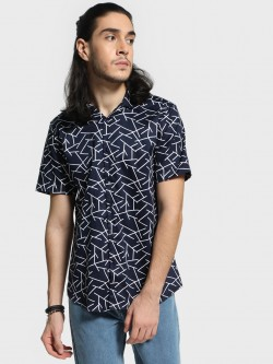Mr Button Abstract Geometric Print Shirt