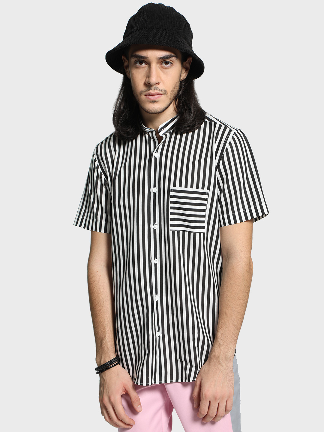 Mr Button Multi Monochrome Stripe Band Collar Shirt 1
