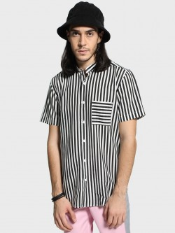 Mr Button Monochrome Stripe Band Collar Shirt