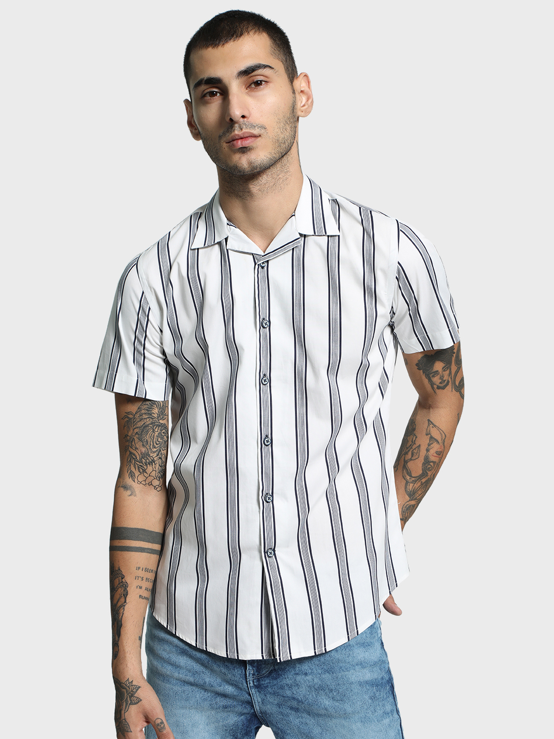 Mr Button Multi Multi Stripe Cuban Collar Shirt 1