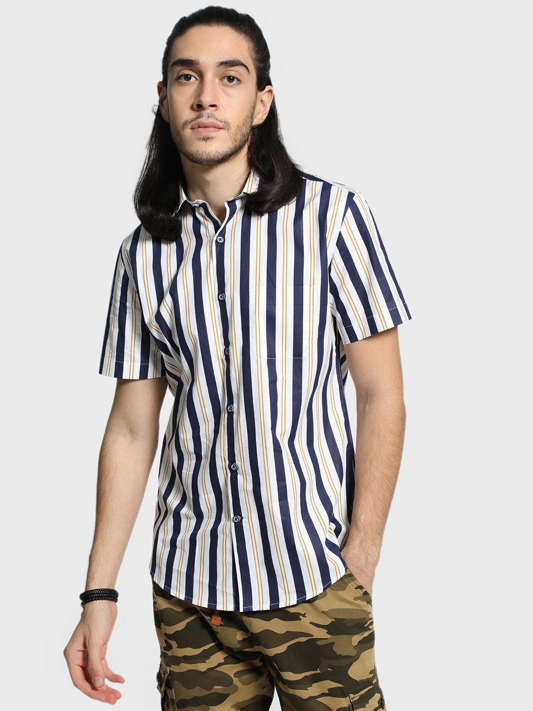 Mr Button Multi Multi-Stripe Short Sleeve Shirt 1