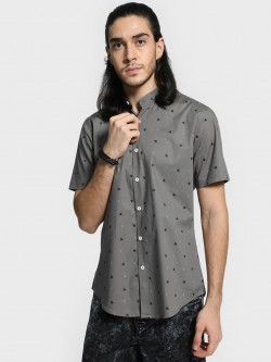 Mr Button Boat Print Band Collar Shirt