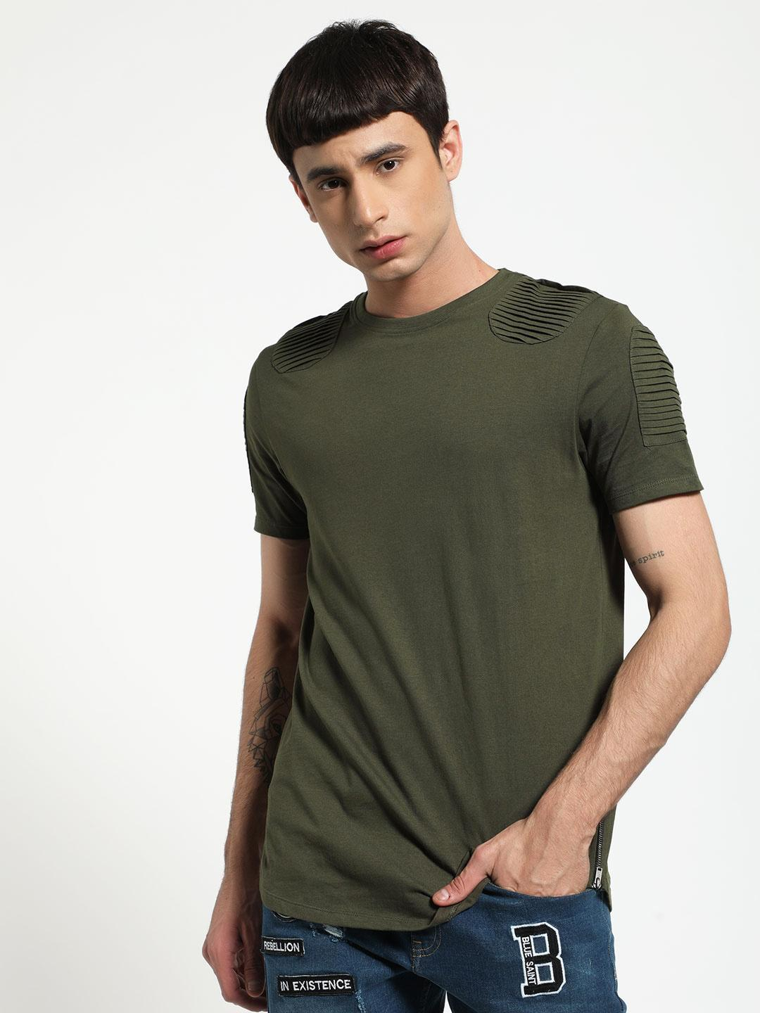 SKULT By Shahid Kapoor Green Pintuck Round Neck T-Shirt 1