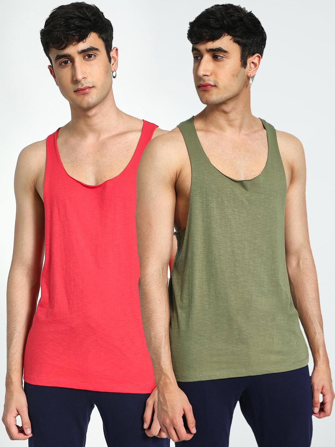KOOVS Red/Olive Racerback Longline Vest (Pack Of 2) 1