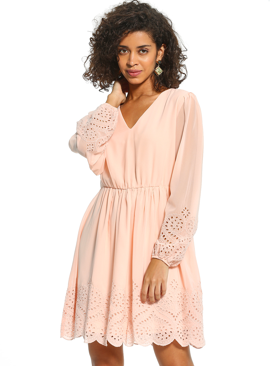 Cover Story Pink Broderie Scalloped Hem Shift Dress 1