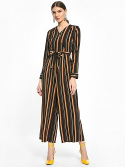 Cover Story Vertical Stripe Wrap Belted Jumpsuit