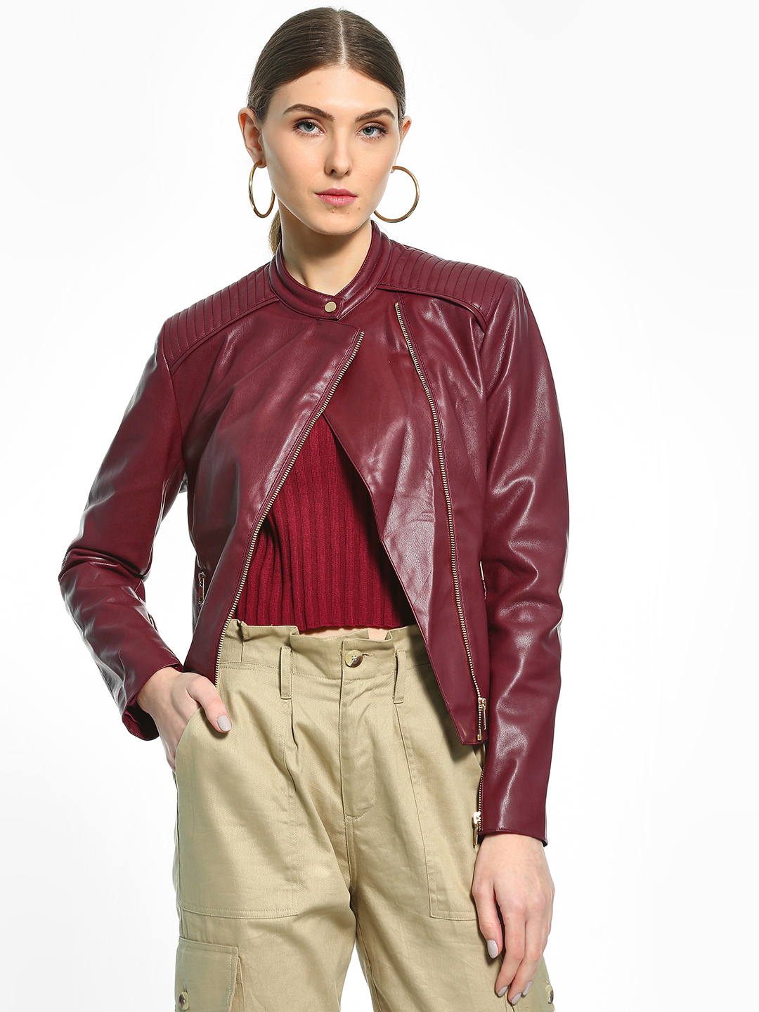 Cover Story Maroon Quilted Panel Biker Jacket 1