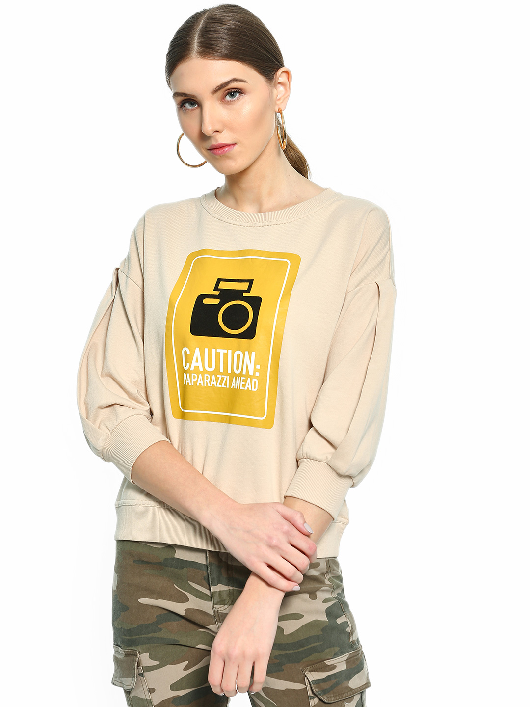 Cover Story Brown Paparazzi Placement Print Sweatshirt 1