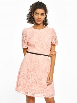 Cover Story Floral Lace Skater Dress