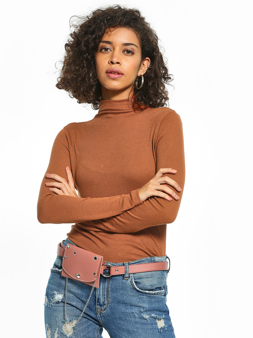 Cover Story Brown Basic Turtleneck Ribbed Top 1