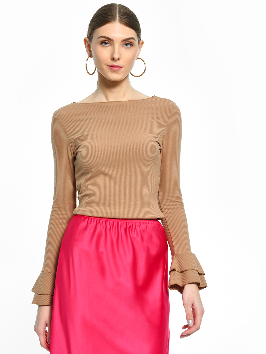 Cover Story Brown Bell Sleeve Ribbed Top 1