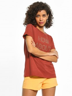 Cover Story Stud Embellished Text T-Shirt