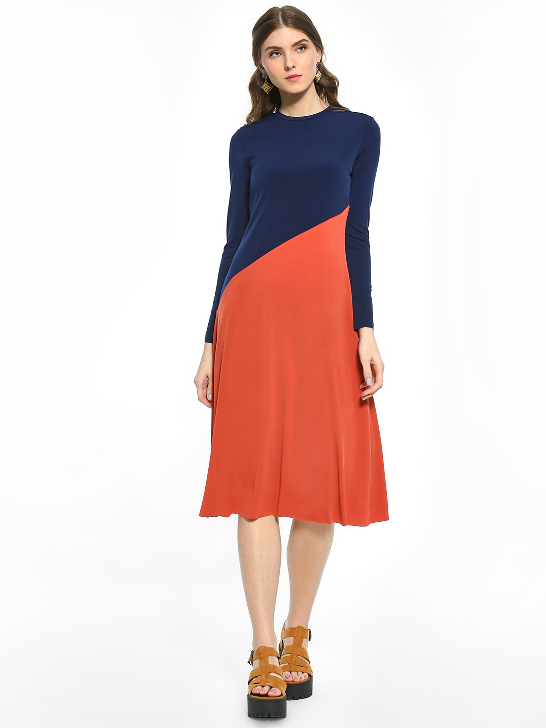 Cover Story Multi Colour Block Midi Dress 1