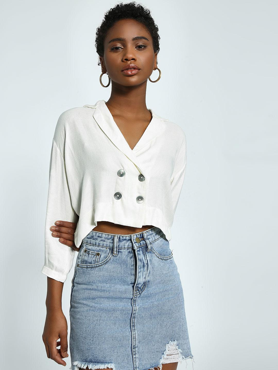 KOOVS Ivory Double-Breasted Crop Top 1