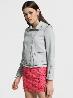 Cover Story Suede Belted Front Biker Jacket