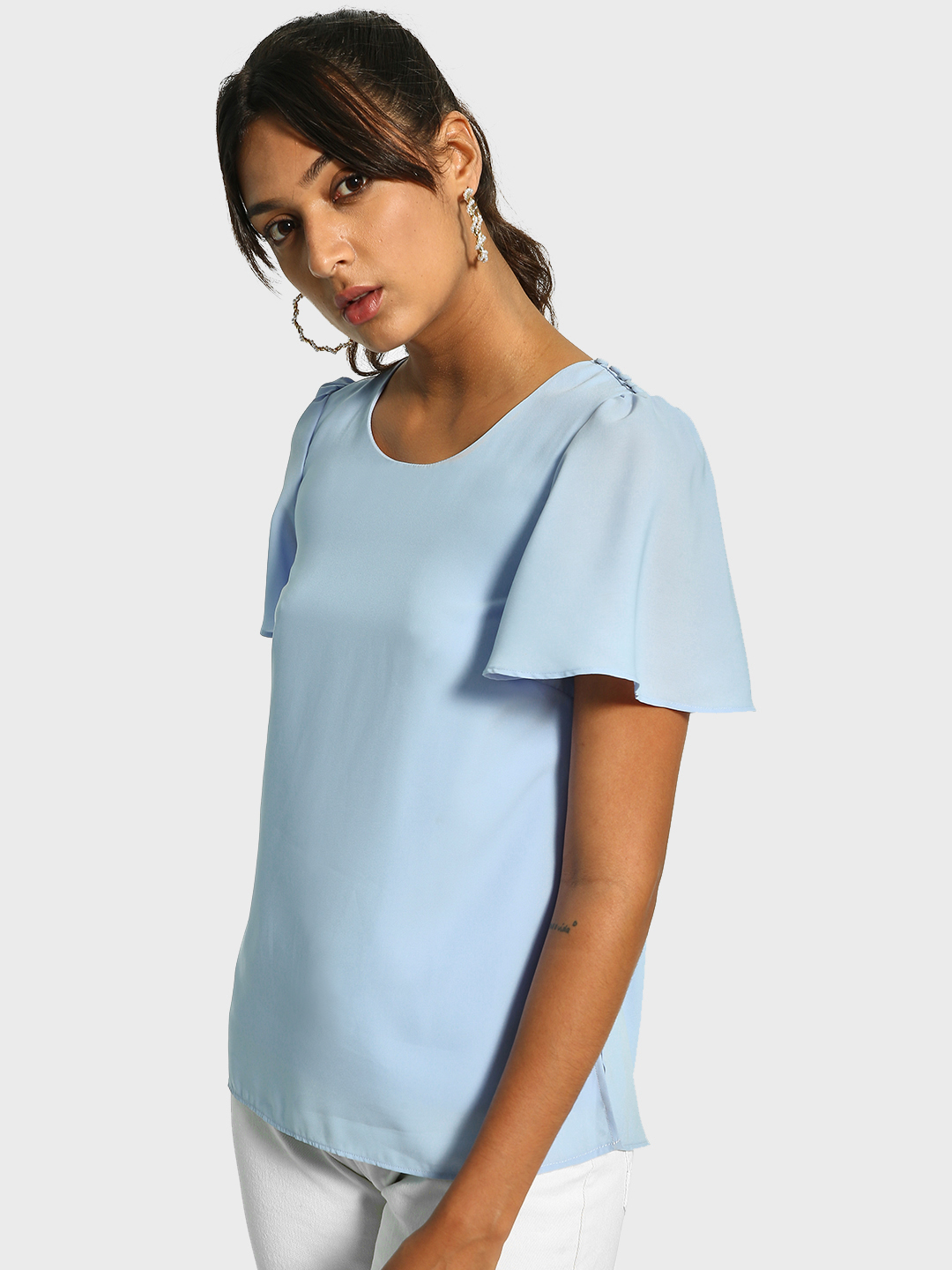Cover Story Blue Shoulder Button Flared Sleeve Blouse 1