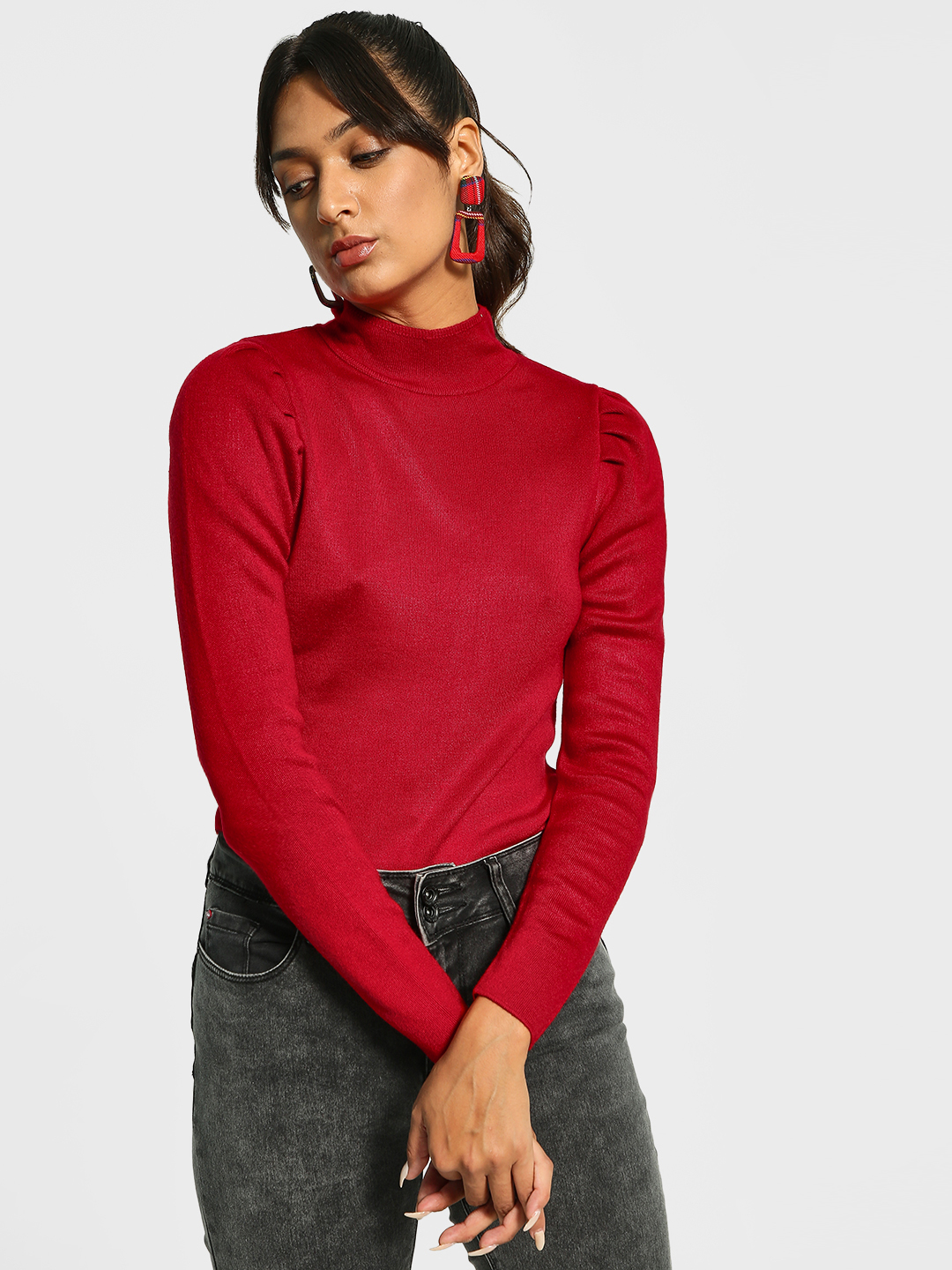 Cover Story Red Turtle Neck Puffed Sleeve Pullover 1