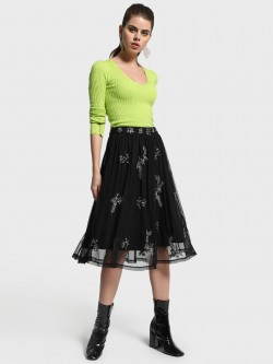 Cover Story Diamante Embellished Mesh Skater Skirt
