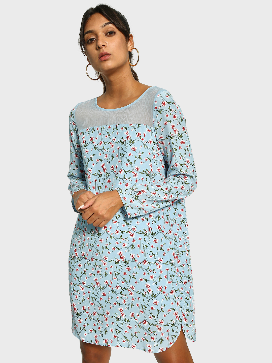 Cover Story Blue Floral Print Shift Dress 1
